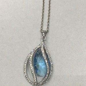Swarovski blue teardrop necklace sterling silver